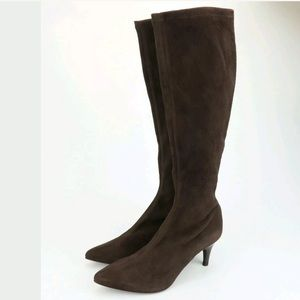Delman Lilia Suede Knee High Heel Boots 6.5 M